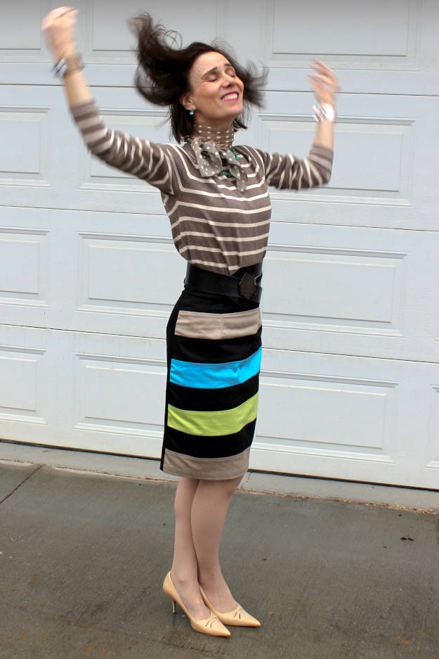 #fashionover50 woman in a striped skirt