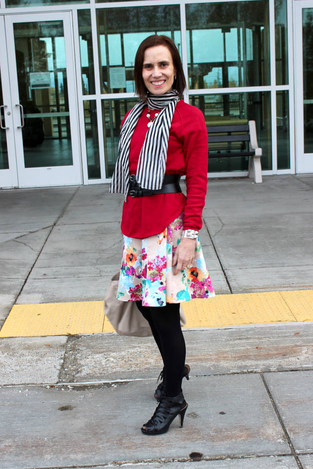 #fashionover50 woman wearing stripes and floral print in one outfit