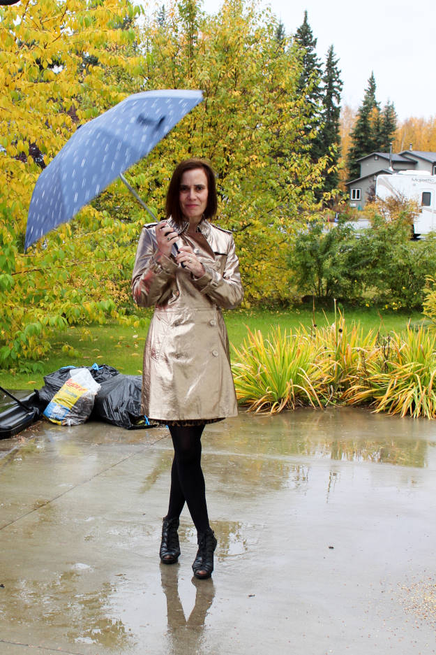 style blogger over 40 in an outfit for a rainy day