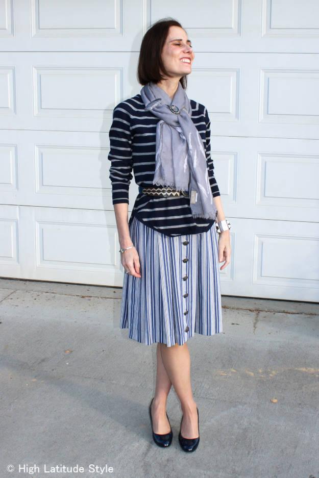 #fashionover50 older woman wearing a dirndl as skirt