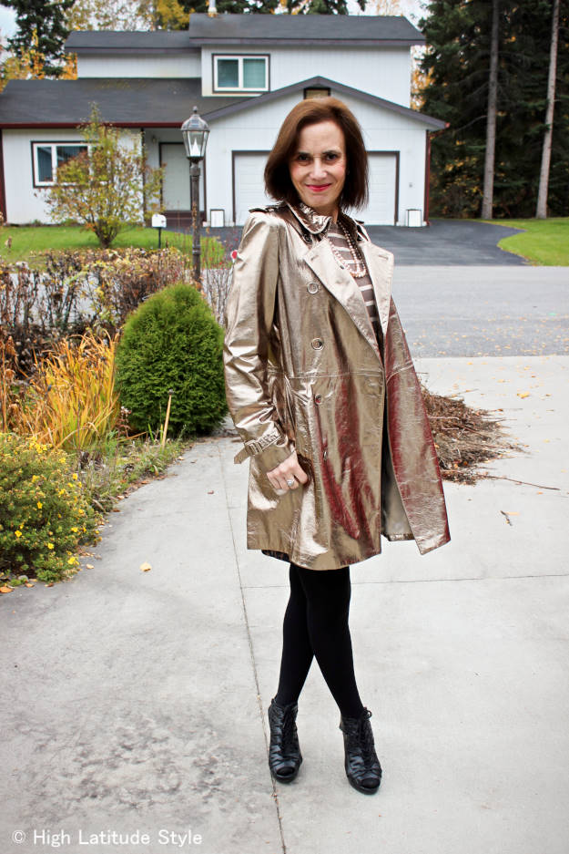 #maturefashion OOTD with golden leather coat at weekly Top of the World Style #linkup party on Thursdays @ High Latitude Style @ http://www.highlatitudestyle.com