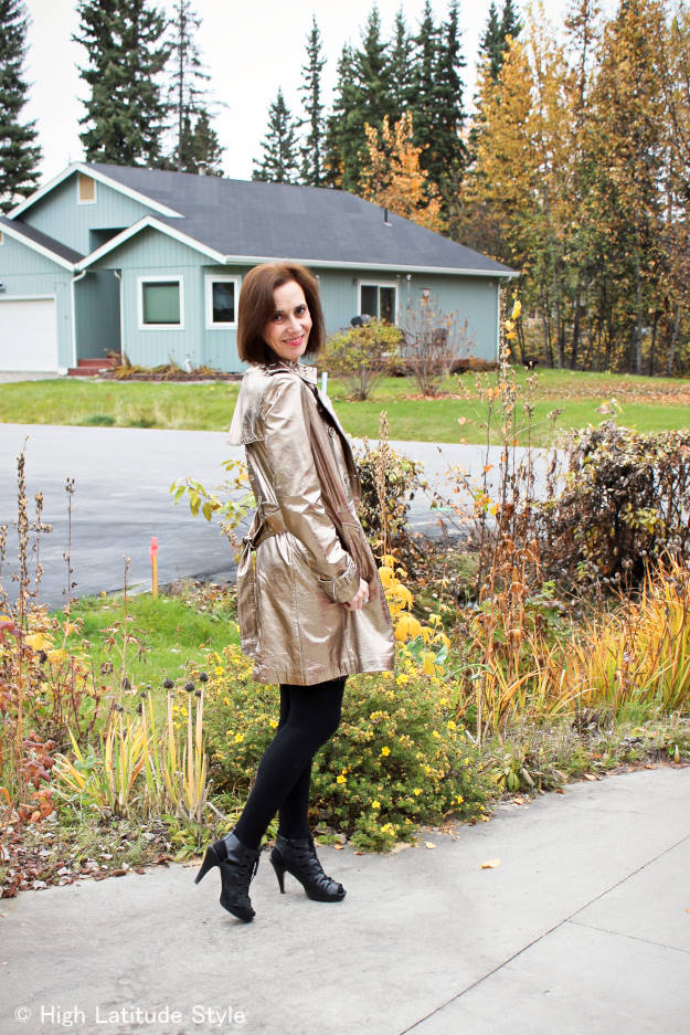 #fashionover40 #fashionover50 OOTD with golden trench coat at weekly Top of the World Style #linkup party on Thursdays @ High Latitude Style @ http://www.highlatitudestyle.com