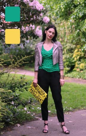 #fashionover40 #fashionover50 How to wear analogous colors: Example 1 of outfit in analogous colors