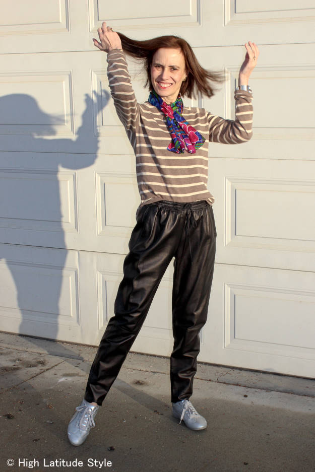 fashion over 40 joggers with striped sweater