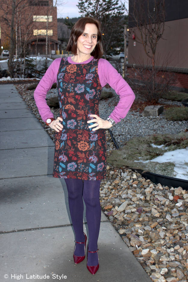 #fashionover50 High Latitude Style donning a sheath dress with Mary Janes