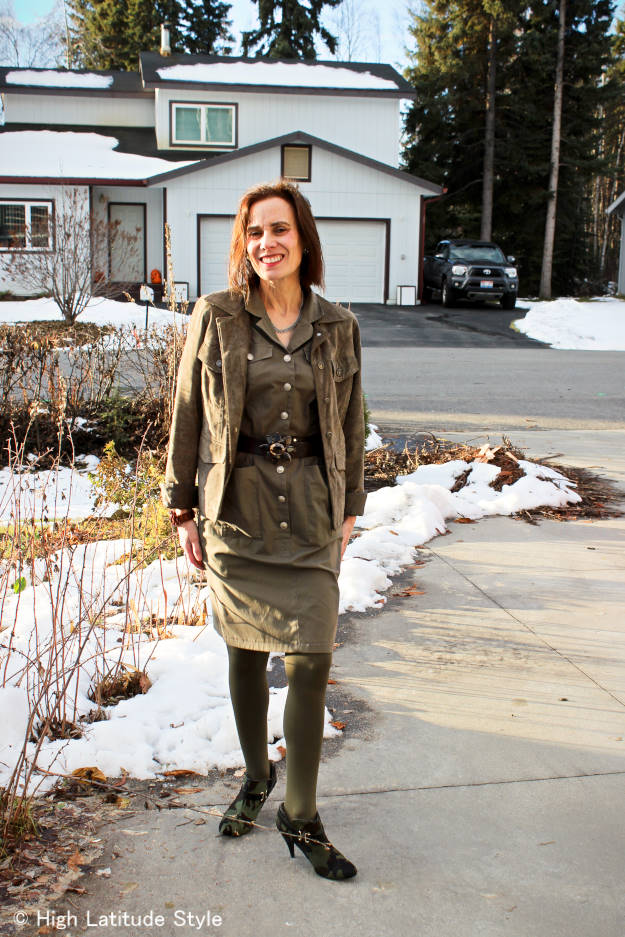 fashionover50 woman in monochromatic look with utility jacket
