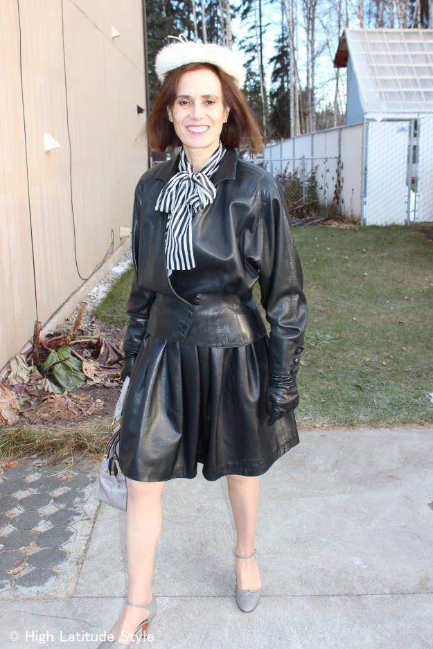 #styleover40 woman in leather skirt and jacket