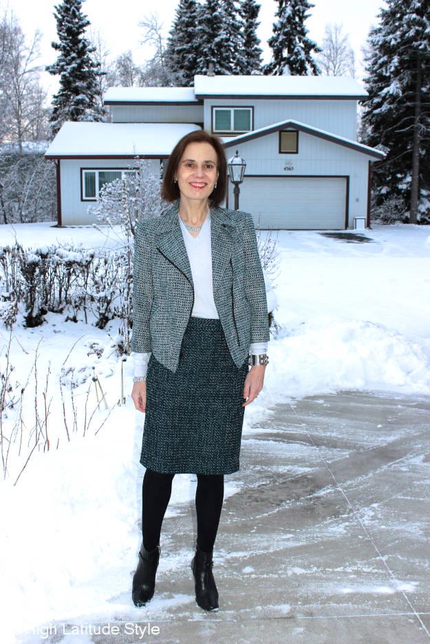 #midlifestyle woman in fake tweed skirt suit
