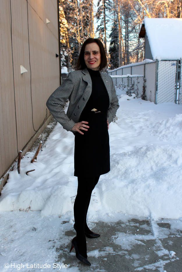 #midlifechic #fashionover50 woman in work outfit with tights