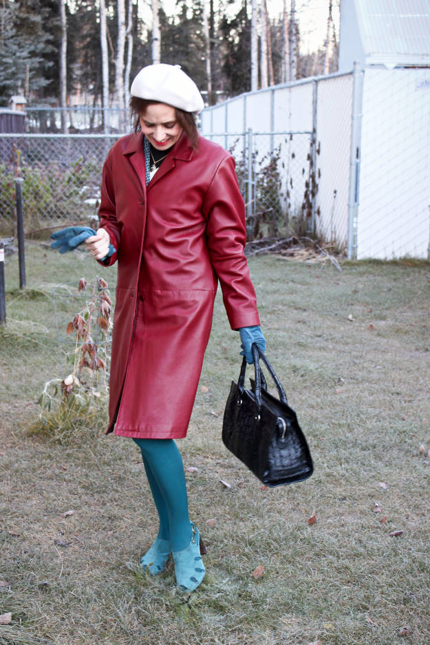 mature fashion blogger in leather fall outerwear