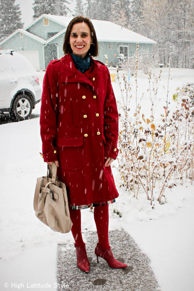 #styleover40 #styleover50 Best looks of October: example red winter outerwear @ High Latitude Style @http://www.highlatitudestyle.com