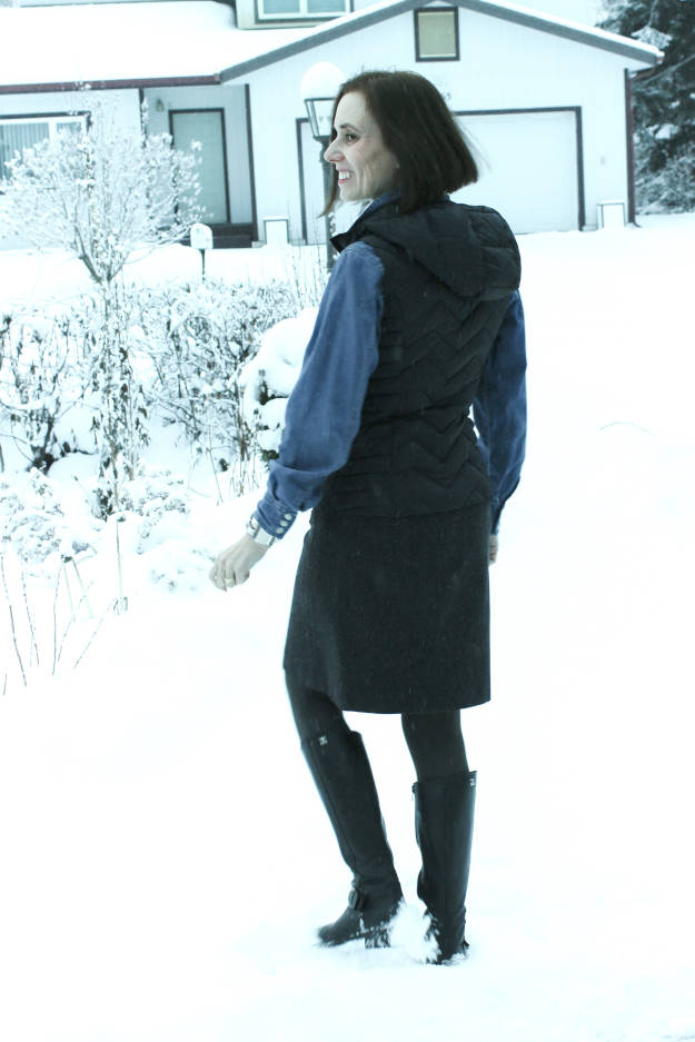 mature style woman in down vest