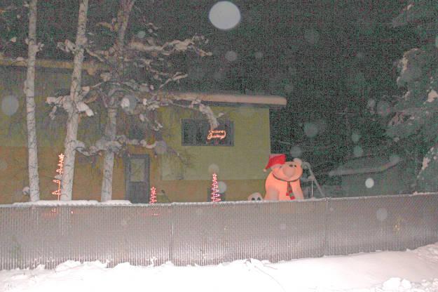#Alaska #travel #holidays Christmas decoration in a yrad in Fairbanks around solstice
