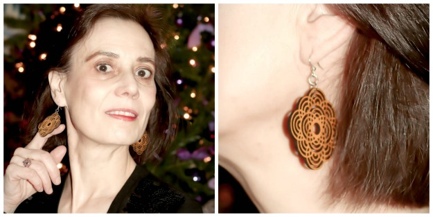 #review #woodenearrings Green Tree Jewelry wooden earring church window