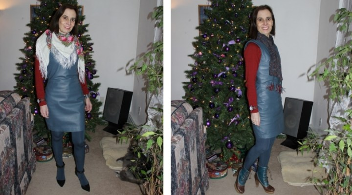 two outfits with the same dress, but different scarves and shoes