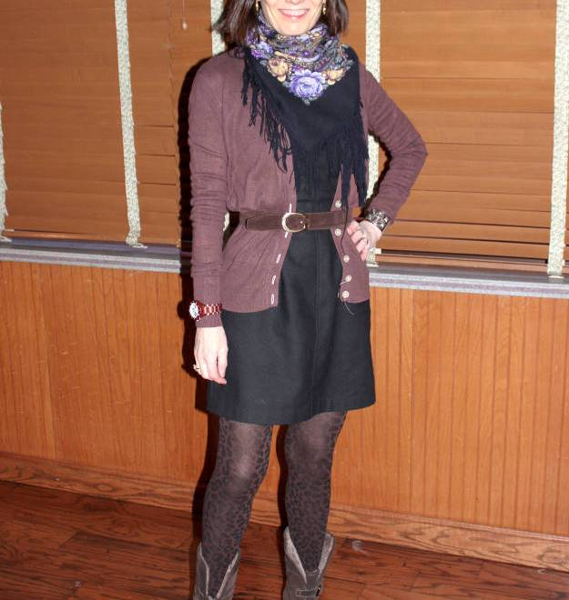 #fashionover50 professional outfit with LBD and cardigan