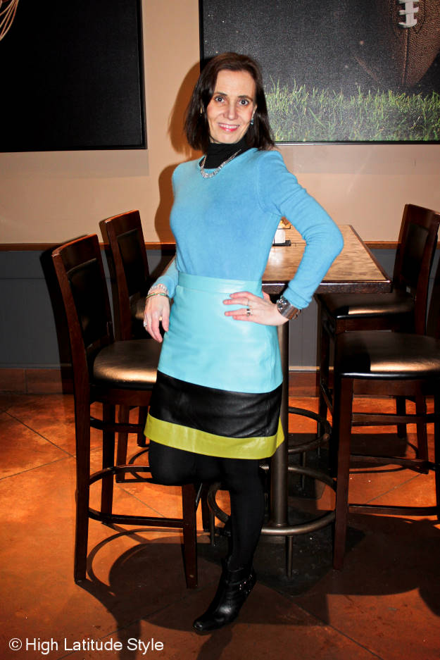 midlife style blogger wearing bold colors