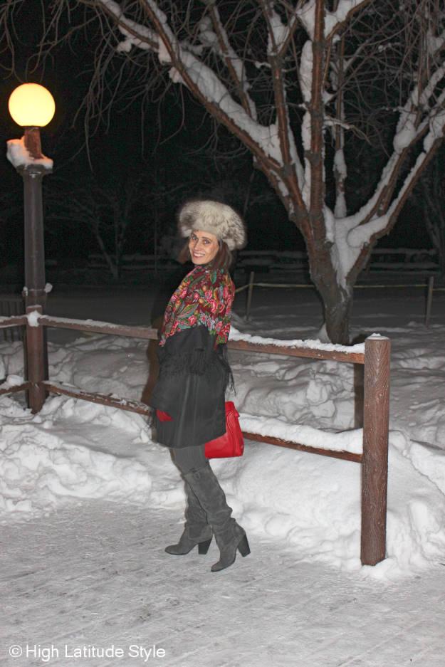 mature fashion Alaska winter outfit