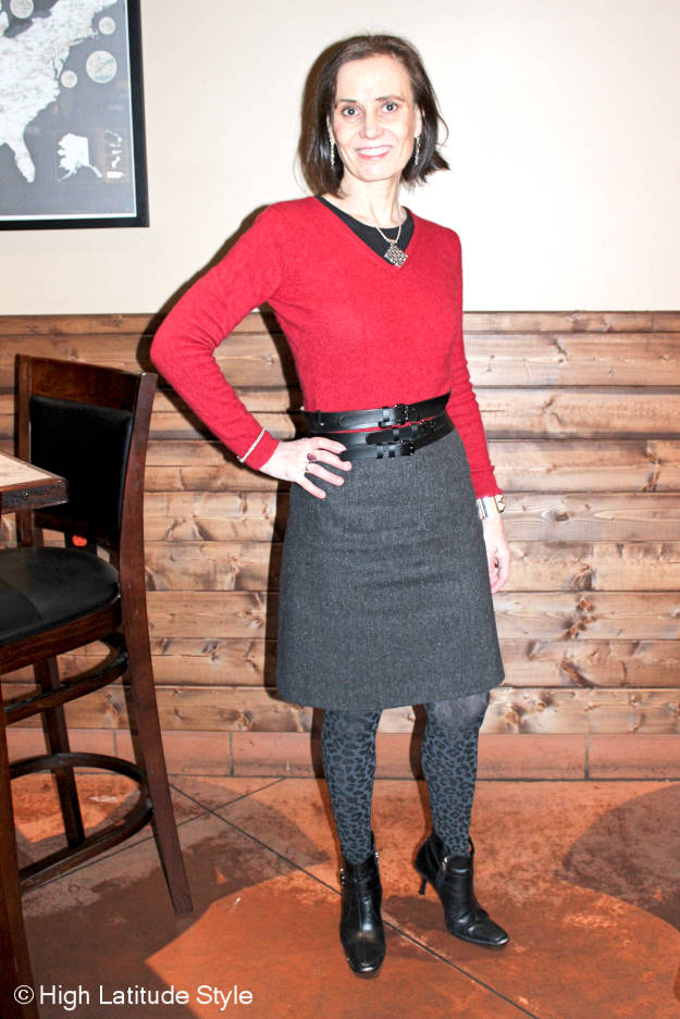 #fashionover40 7 budget fashionistas share their secrets woman in thrifted sweater and booties to stay on budget