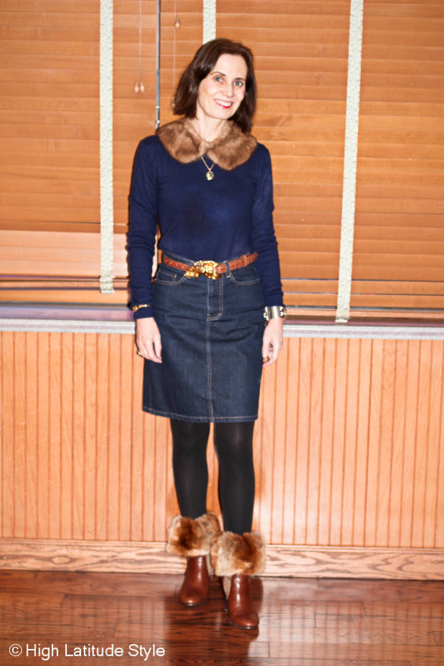 #advancedfashion over 50 year old woman in denim skirt and blue sweater