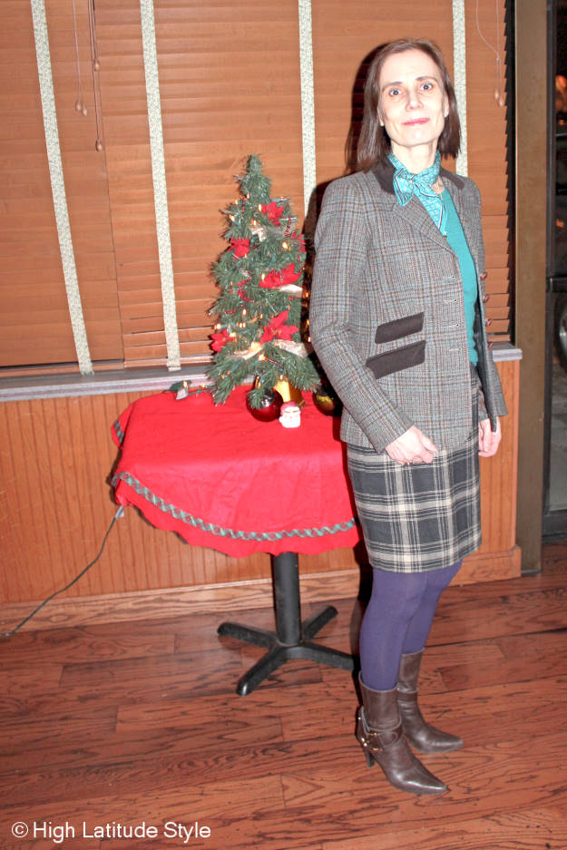 #styleover50 Alaskan woman in mature winter work outfit with plaid blazer and sheath