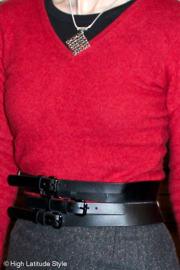 closeup view of statement belt