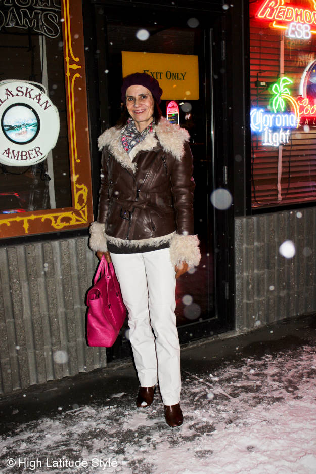 #fashionover40 winter outfit with motorcycle shearling jacket