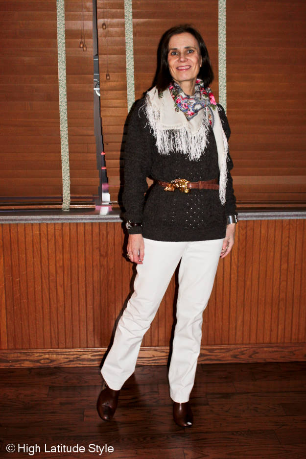#fashionover50 Casual look with Russian scarf
