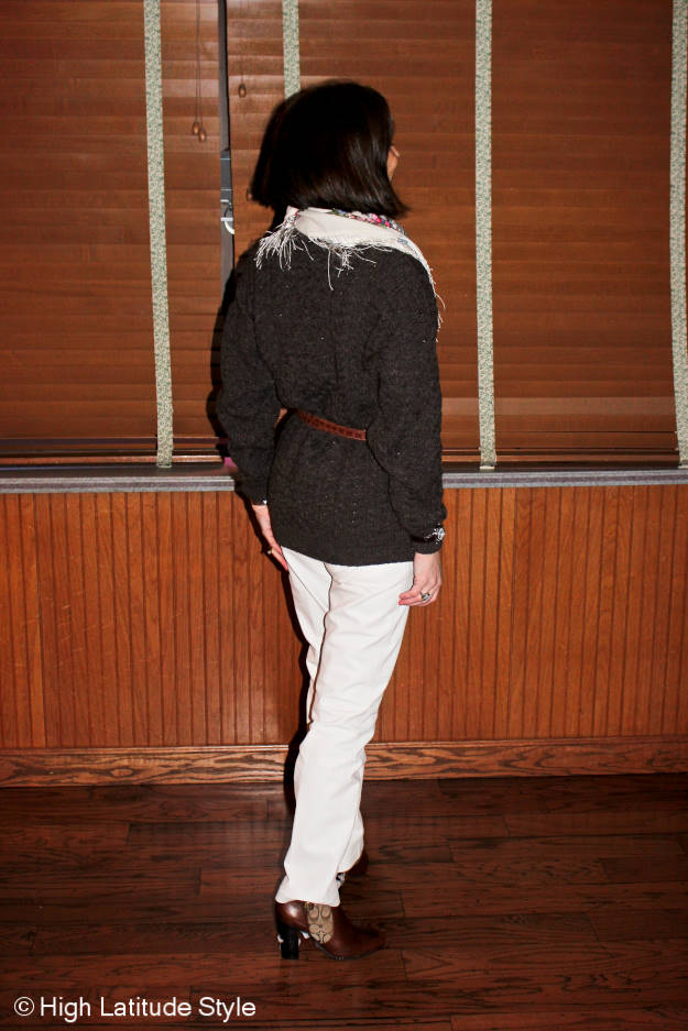 #maturefashion casual look with leather pants, cable knit sweater and wool fringe scarf