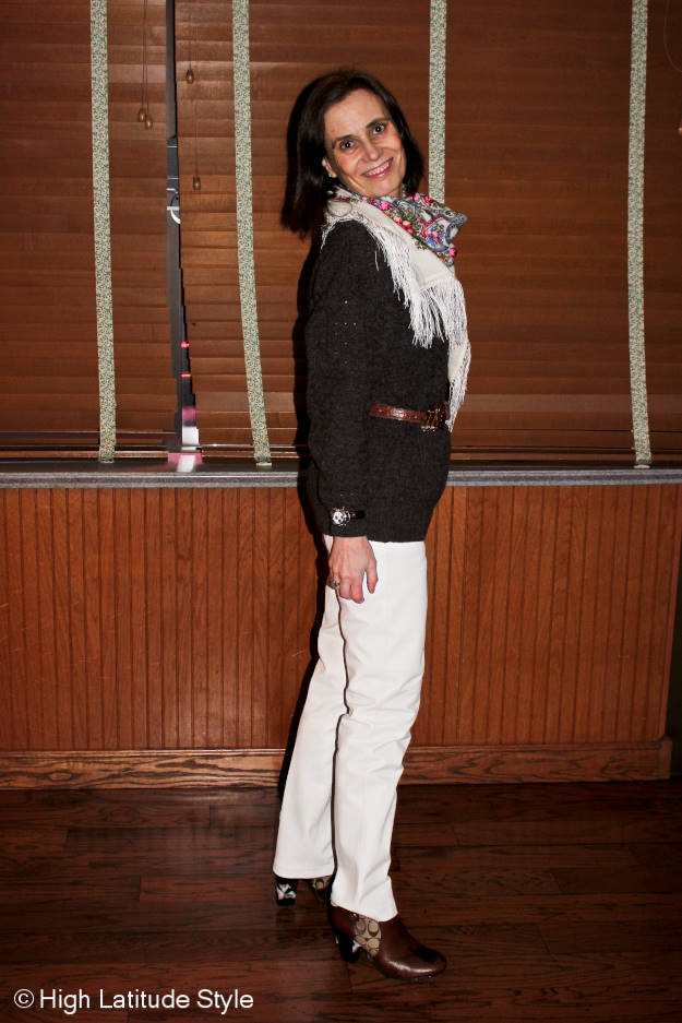 #midlifefashion weekend outfit with leather pants and knit sweater