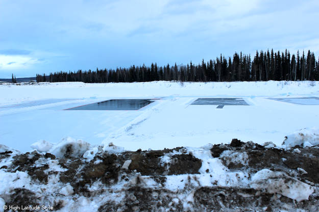 frozen pond for harvesting ice for the ice sculpturing competion