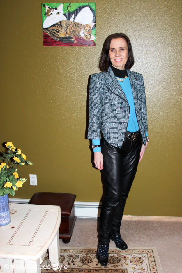 #thriftingover50 mature woman looking posh in an outfit with thrifted items