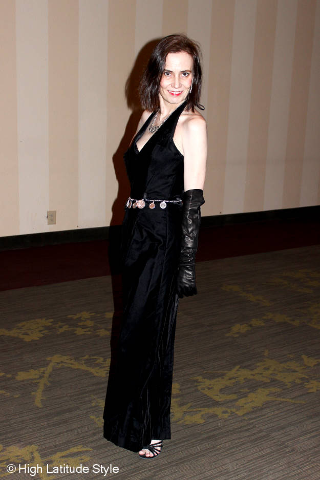 mature fashion blogger in black velvet ball gown
