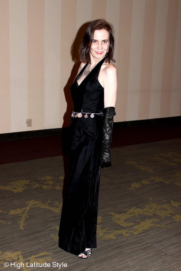 #maturefashion woman in black velvet ball gown