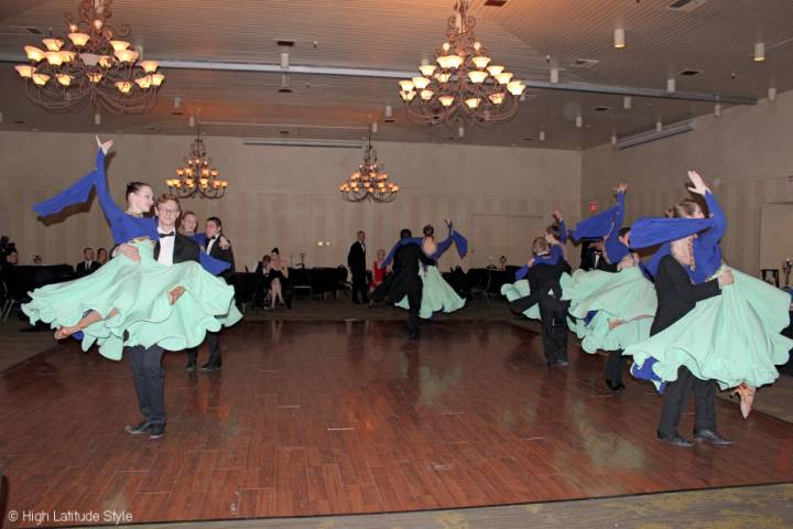 #FocusAlaska Young dancer perfroming a Viennese Waltz in ballroom gons and smokings
