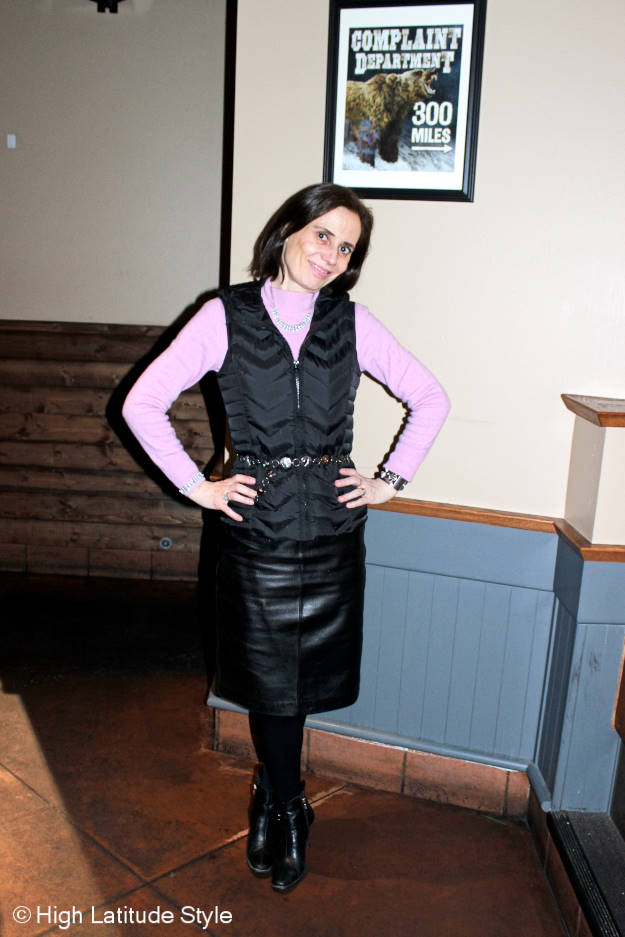 #Fashionover40 How to look stylish in down clothes @ http://www.highlatitudestyle.com