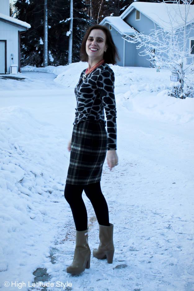 #fashionover50 woman wearing a sheath as skirt