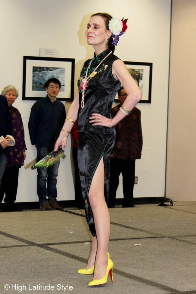 fashion model over 40 in sleek dress