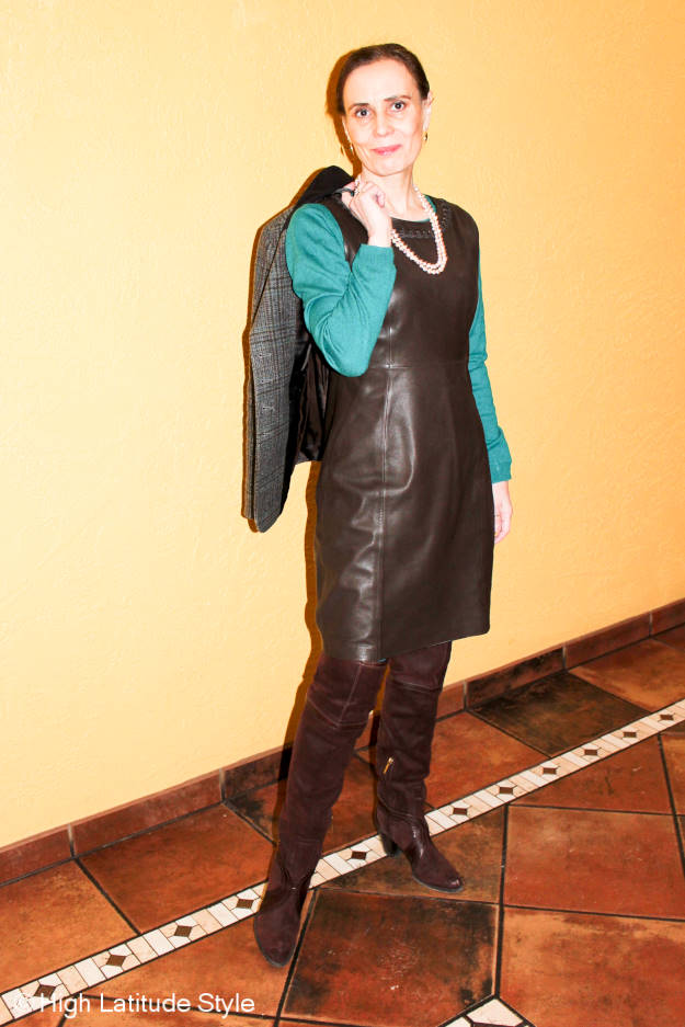 #fashionover40 fashion blogger in leather sheath winter work outfit