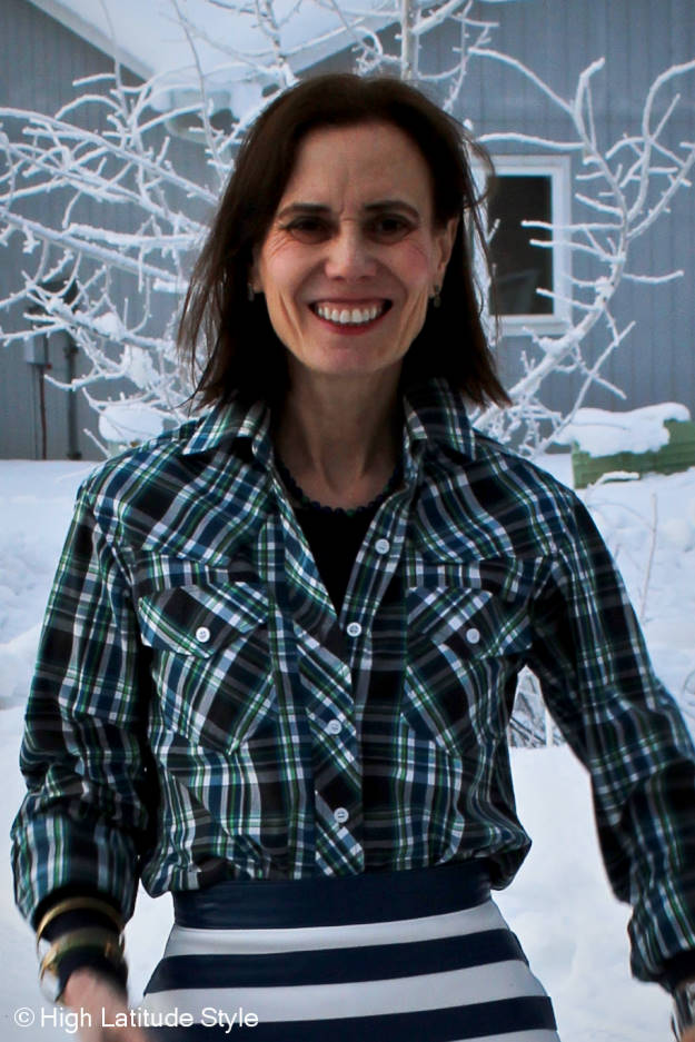 #styleover50 layering with halftee under a plaid button-down shirt