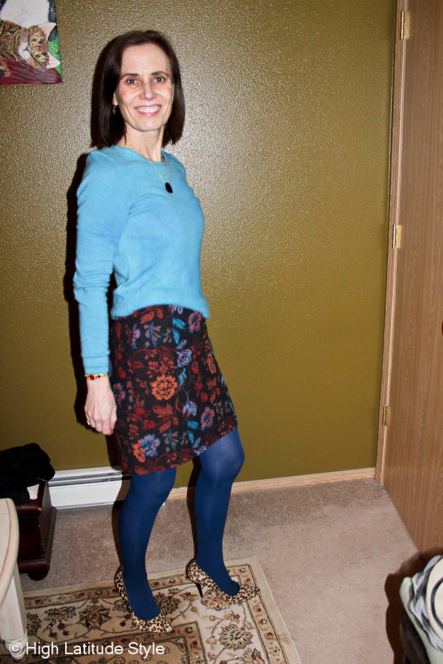 #maturefashion woman in a dress that features the colors of the aurora