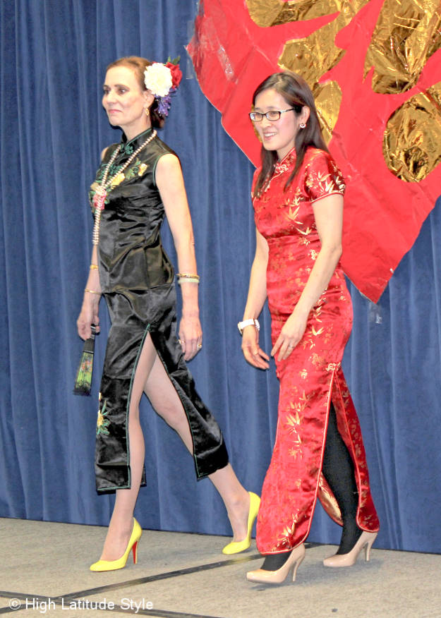Red and black dresses shown in the Chinese fashion show