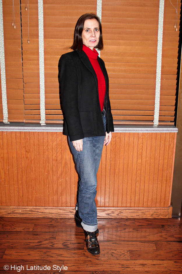 #fashionover40 midlife women in Valentine's dinner outfit for cold weather