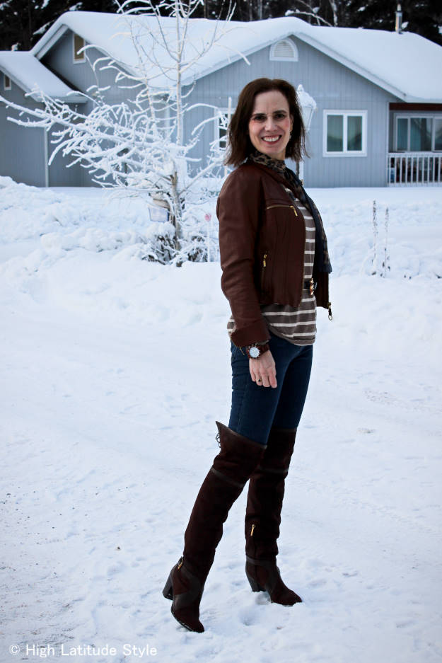 over 50 years old blogger in weekend outfit with over-the-knee boots