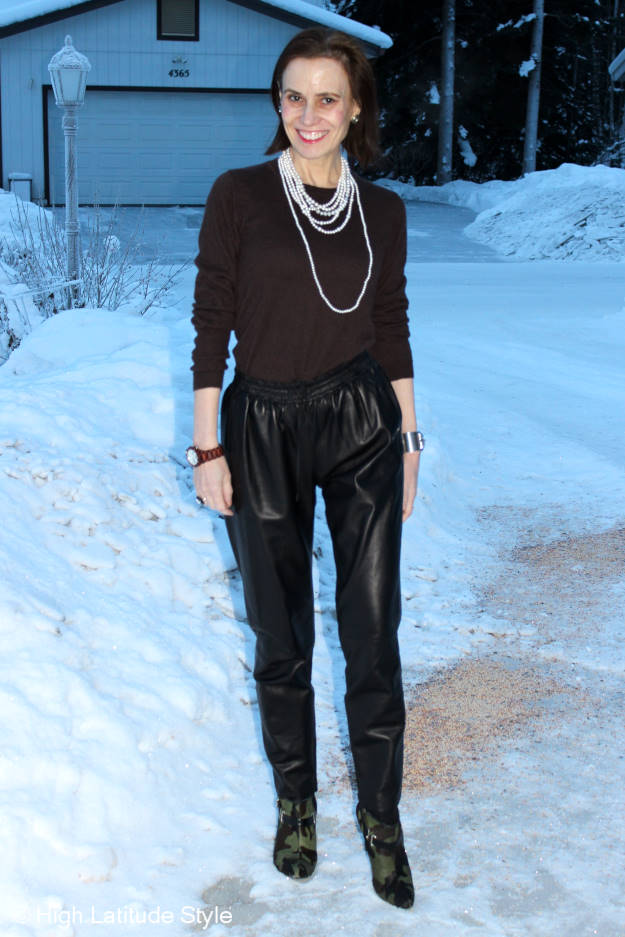 Alaskan fashion blogger in leather joggers with sweater