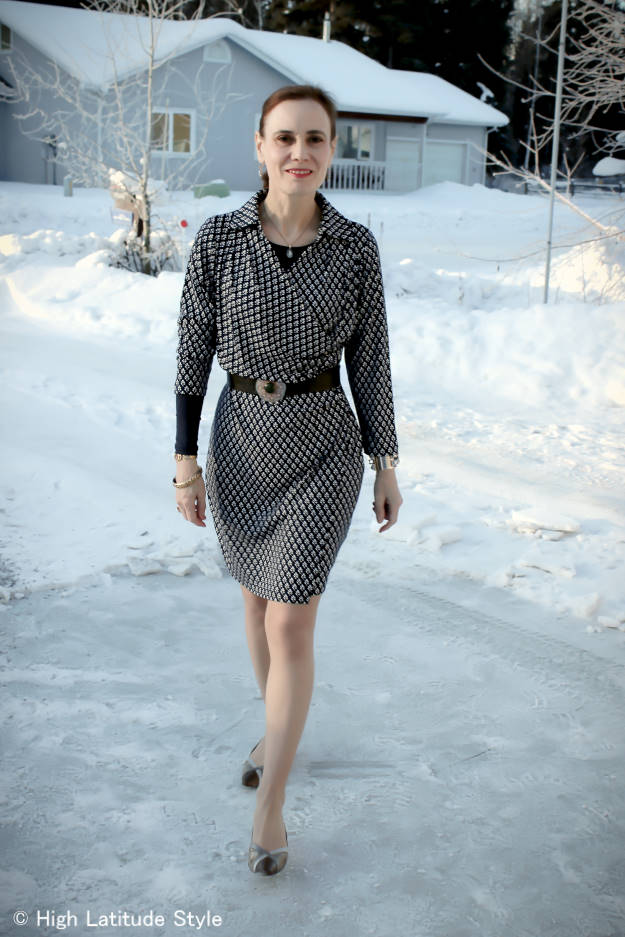 woman over 40 in summer wrap dress styled for a spring office look