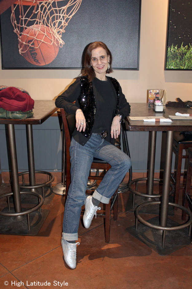 casual festive look with jeans for celebration at a sports bar