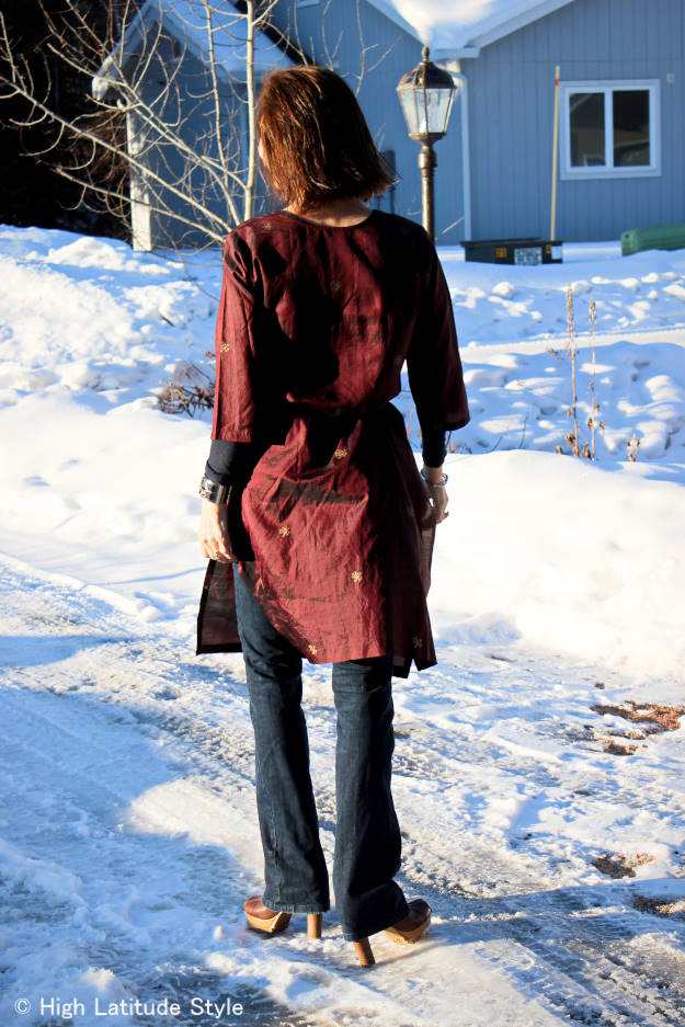 #styleover40 Bohemian style Indian long painted silk tunic over flared jeans