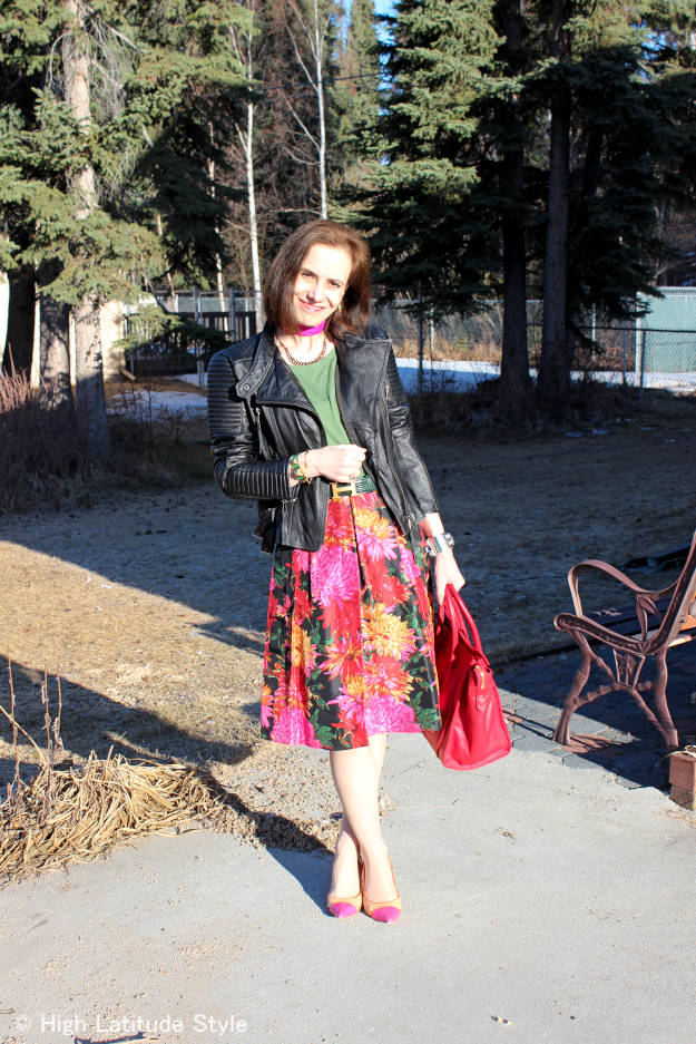 #fashionover50 floral pleated skirt with motorcycle jacket