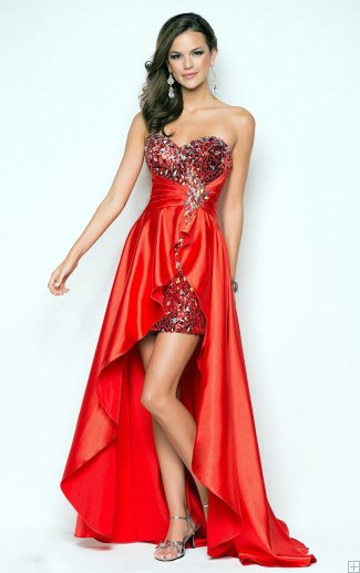 #AisleStyle trapless Sweetheart Sparkle Beaded High Low Orange Red Satin Prom Dress